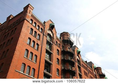 Historic building in the Speicherstadt in Hamburg Germany Europe. poster