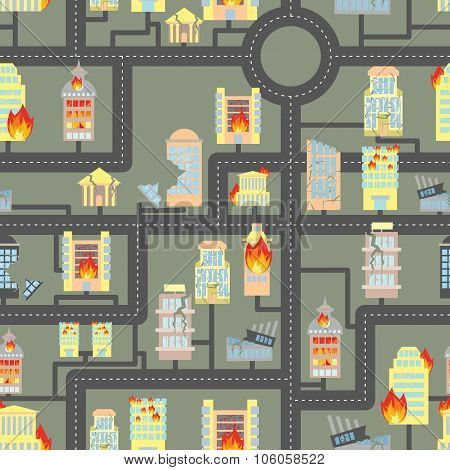 Destroyed City Seamless. Fire In Business Buildings And Vehicles. Industrial Background Of Modern Me