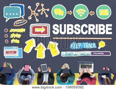 Subscribe Follow Registration Support Media Concept poster