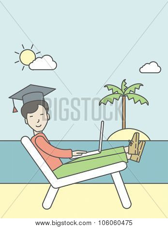 An asian man in graduation cap lying on chaise longue on the seashore. Vector line design illustration. Vertical layout with a text space for a social media post.