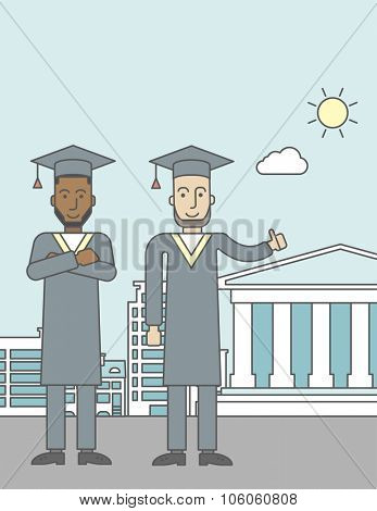 Graduates in cloak and hat on a city background with academy building. Vector line design illustration. Vertical layout with a text space for a social media post.