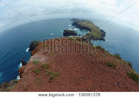 Fisheye view of Cape Ponta de Sao Lourenco, the most eastern edge of Madeira island, Portugal