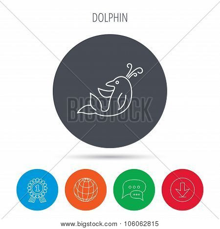 Dolphin icon. Cetacean mammal sign. Delphinidae with fountain symbol. Globe, download and speech bubble buttons. Winner award symbol. Vector poster