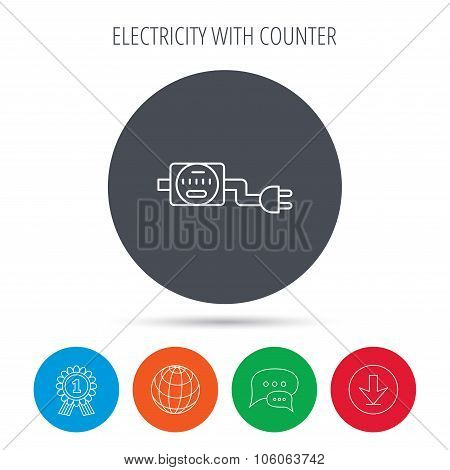 Electric counter icon. Electricity with plug sign. Globe, download and speech bubble buttons. Winner award symbol. Vector poster