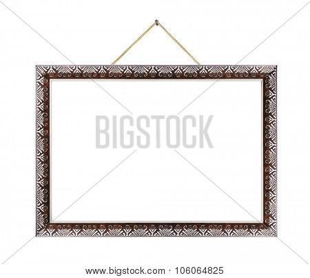 Retro metal frame on rope isolated on white background