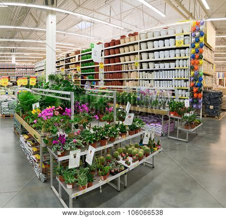 MOSCOW, RUSSIA - FEBRUARY 15, 2015: Potted plants in the store Leroy Merlin. Leroy Merlin is a Frenc