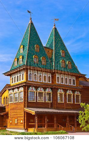 Wooden palace of Tsar Alexey Mikhailovich in park Kolomenskoe - Moscow Russia