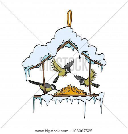 Birdfeeder in winter forest. Vector