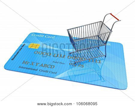 Tiny Shopping Cart On Credit Card