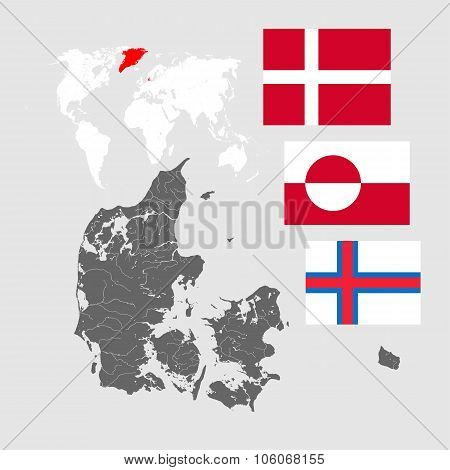 Map of Denmark with lakes and rivers world map and three flags - Flag of Denmark (Dannebrog) Flag of Greenland and Flag of the Faroe Islands. Flags has a proper design proportion and colors. poster