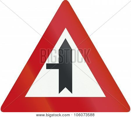 Dutch road sign B4 - Road junction with priority over minor road from the left. poster