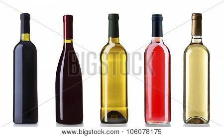Set of white, rose, and red wine bottles, isolated on white