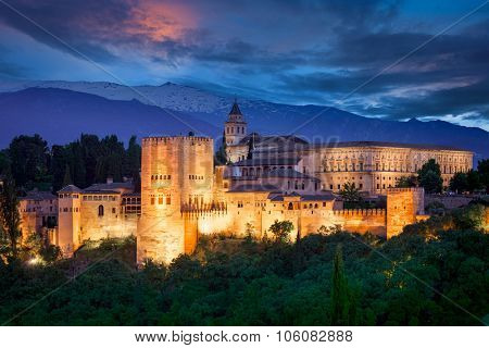 Night View of Famous Alhambra, European travel landmark, Spain