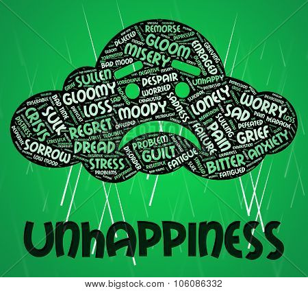 Unhappiness Word Indicates Grief Stricken And Dejected