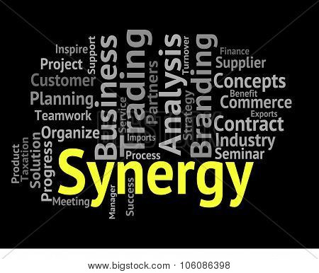 Synergy Word Means Working Together And Partner