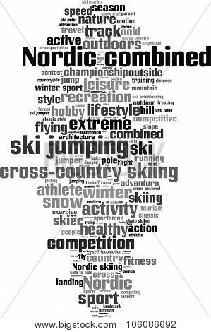 Nordic combined word cloud concept. Vector illustration poster