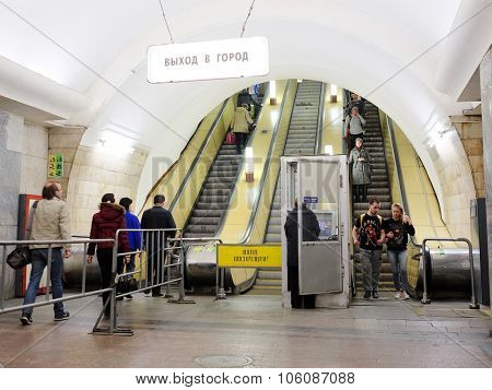 MOSCOW, RUSSIA  -  APRIL 12, 2015: Sokolnicheskaya line - the first line of the Moscow metro. The metro station Chistie prudi escalator exit to the city