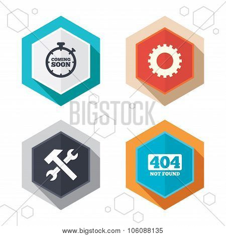 Hexagon buttons. Coming soon icon. Repair service tool and gear symbols. Hammer with wrench signs. 404 Not found. Labels with shadow. Vector poster