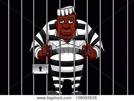 Cartoon prisoner behind bars in the prison