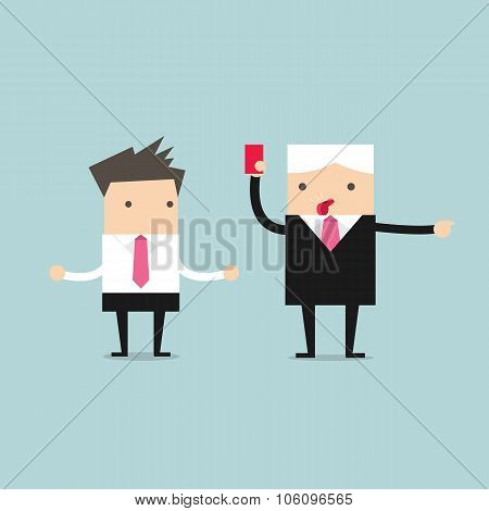 Manager showing a red card to businessman