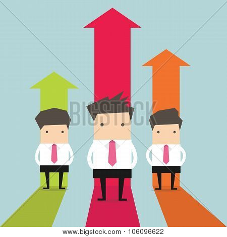 Businessman stand with growing graph