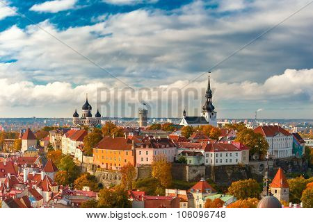 Toompea hill with tower Pikk Hermann, Cathedral Church of Saint Mary Toomkirik and Russian Orthodox Alexander Nevsky Cathedral, view from the tower of St. Olaf church, Tallinn, Estonia poster