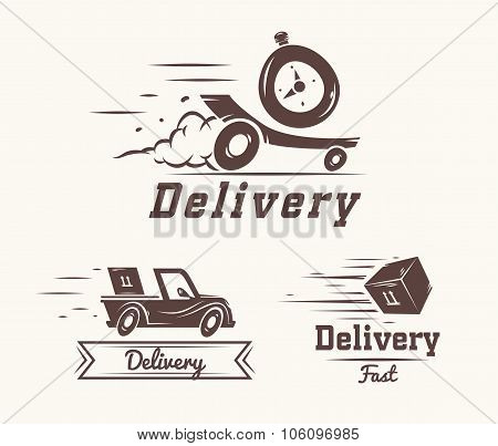 Vector logo of fast delivery watch, car and box