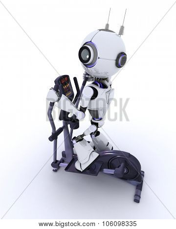 3D render of a robot at the gym on a cross trainer