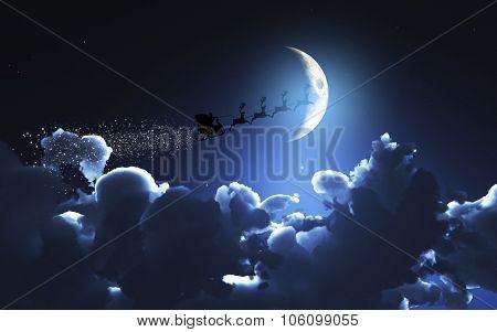 3D Christmas image of Santa flying through a moonlit sky
