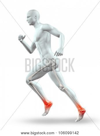3D render of a male figure with skeleton running