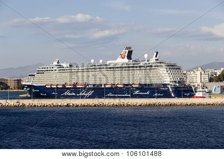 Ferry Boats, Cruise Ships Docking At The Port Of Piraeus, Greece. The Port Of Piraeus Is The Largest