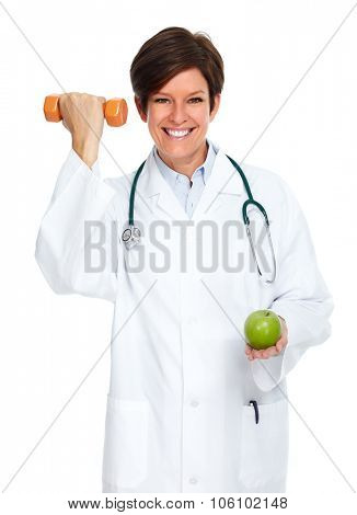 Mature medical doctor woman isolated over white background.