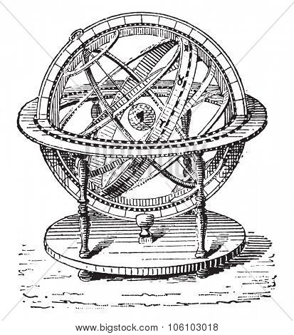Armillary Sphere, vintage engraved illustration. Dictionary of words and things - Larive and Fleury - 1895.