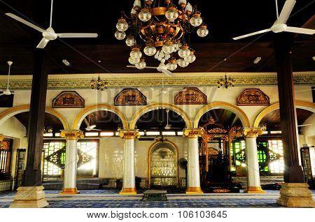 Interior of Kampung Kling Mosque at Malacca, Malaysia