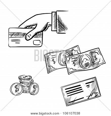 Dollar bills and coins, bank credit card in hand and bank cheque. Sketch icons for payment methods and banking transaction theme poster