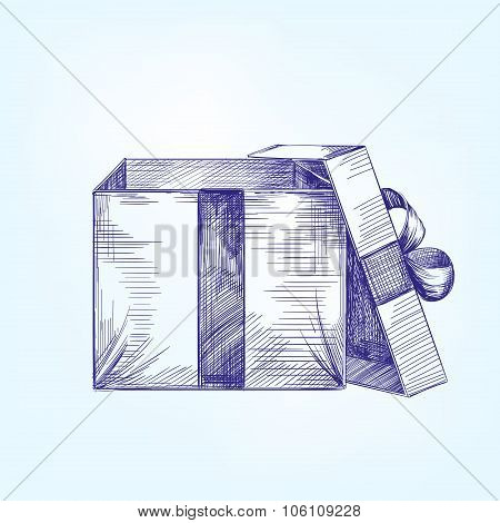 open gift box  hand drawn vector llustration