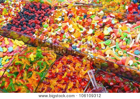Piles of candy at the Grand Bazaar in Istanbul poster