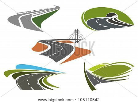 Asphalt highway and roads abstract icons