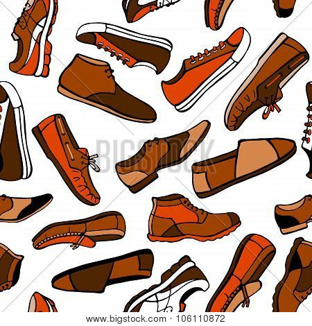 Seamless Pattern Men's Shoes In Brown And Orange Colors