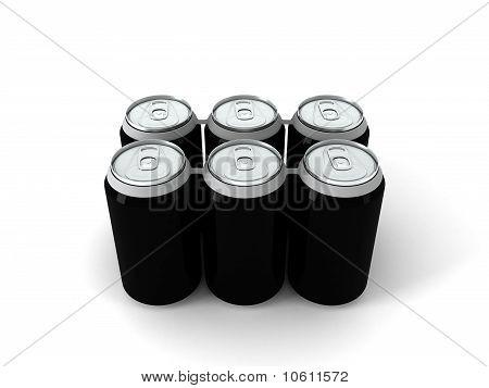 3d illustration of six black aluminum cans