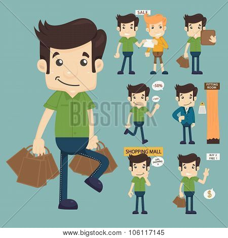 Set Of Man At Market Shopping Store