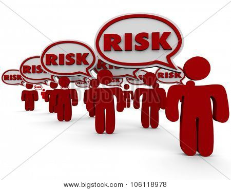 Risk word in speech bubbles over red people illustrating dangerous, liability or security problems