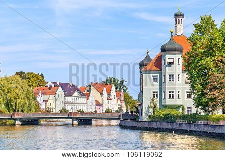 Isar River And Bavarian Style Buildings In Landshut
