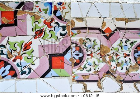 Part of mosaic in Antoni Gaudi Guell park Barcelona Spain Europe poster