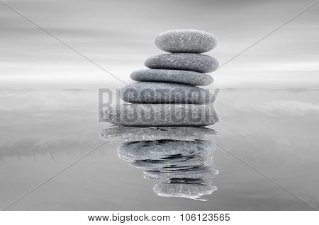Zen And Spa Stone With Reflection