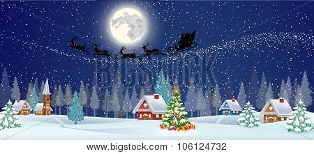 background  with christmas tree and night village