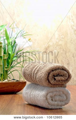 Fluffy Cotton Hand Towels In A Spa