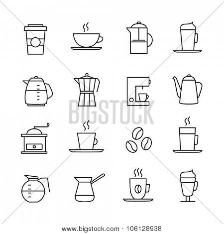 Coffee icons set - thin line design. Coffee cups, pots, various coffee drinks.