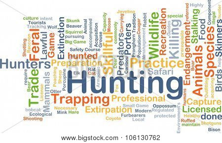 Background concept wordcloud illustration of hunting
