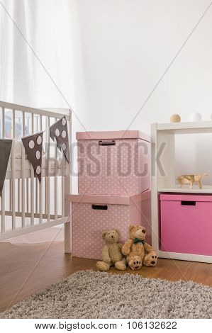 White Crib And Pink Boxes